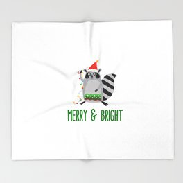 Merry & Bright Racoon with Christmas Lights Throw Blanket