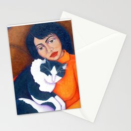 Cat Morgana with Woman Stationery Cards
