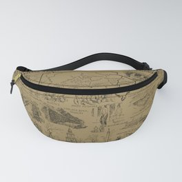 Vintage NJ and Pennsylvania Illustrative Map (1912) - Tan Fanny Pack