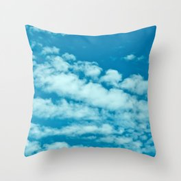 Beautiful blue sky and fluffy clouds Throw Pillow