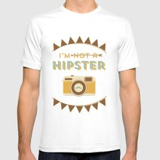 I'm not a hipster camera blue Mens Fitted Tee White MEDIUM