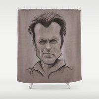 clint eastwood Shower Curtains featuring Clint by chadizms
