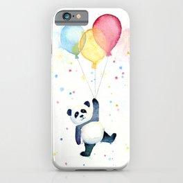 Birthday Panda Balloons Cute Animal Watercolor iPhone Case