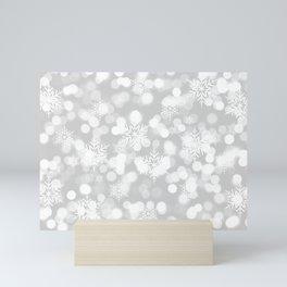 Christmas Snowflakes Bokeh Silver Pattern Mini Art Print