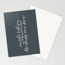 calligraphy print: moderation. the devil's brew. Stationery Cards