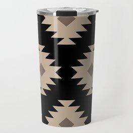 Southwestern Pattern 521 Black and Beige Travel Mug