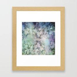 Artistic Hydrangea flowers in soft blue and purple Framed Art Print