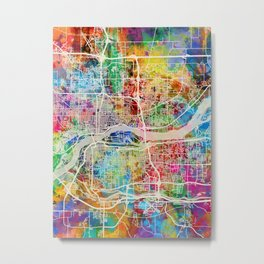 Quad Cities Street Map Metal Print