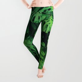 Monstera leaf jungle pattern - Philodendron plant leaves background Leggings