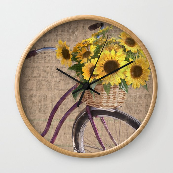 Sunflower Bicycle Wall Clock