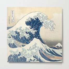 The Classic Japanese Great Wave off Kanagawa Print by Hokusai Metal Print