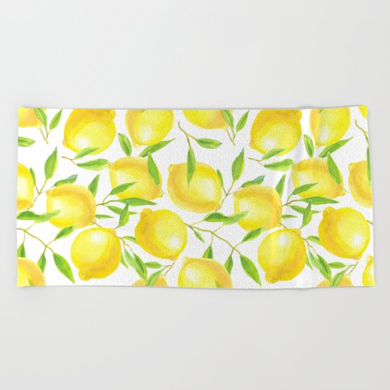 Lemons and leaves  pattern design Beach Towel