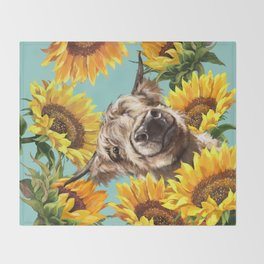 Highland Cow with Sunflowers in Blue Decke