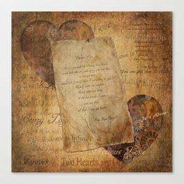 Two Hearts are One - Vintage Romantic Steampunk Art Canvas Print