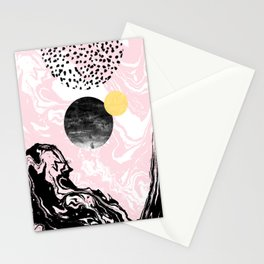Gloriana - galaxy outer space abstract painting planets moon sun black and white pastel pink gold  Stationery Cards
