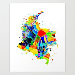 Colombia Map Art Print