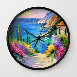 Sunny road to the sea Wall Clock