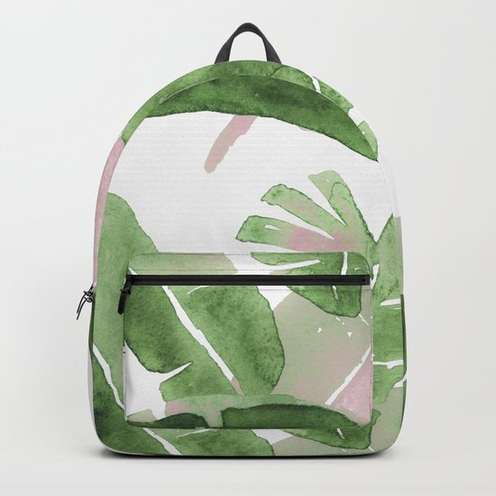 Tropical Leaves Green And Pink Backpack