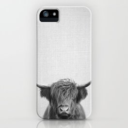 Highland Cow - Black & White iPhone Case