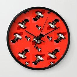Black Pumps Pattern On Red Wall Clock