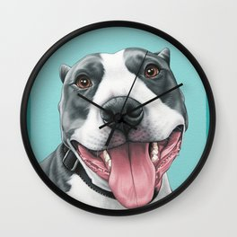 Happy Pitbull Portrait, Pittie Smiles, Pitbull Art Wall Clock