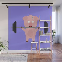 Fitness Pig with Weights Bjzsl Wall Mural