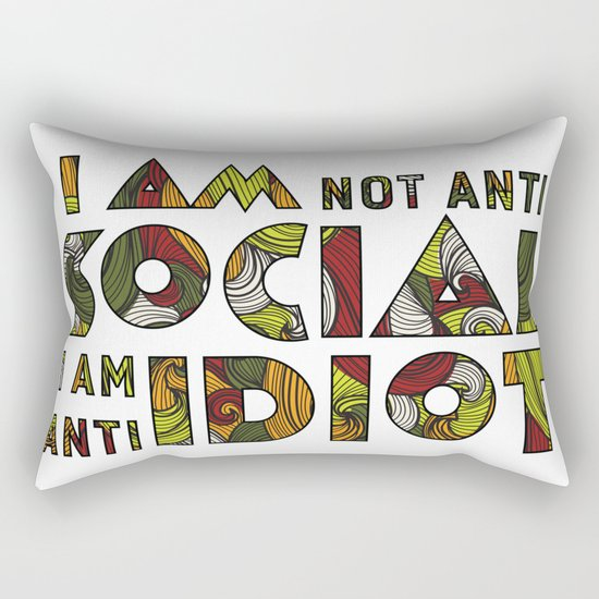 Social Sarcastic Typography Design Rectangular Pillow