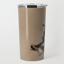 Badger Knitting a Scarf Travel Mug