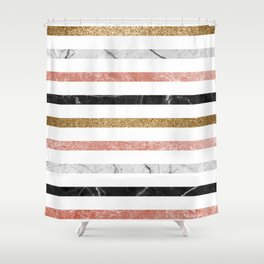marble and metal stripes Shower Curtain