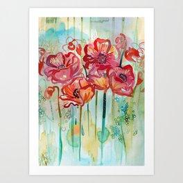 River Poppies Art Print