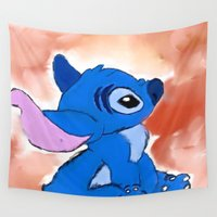 stitch Wall Tapestries featuring STITCH  by Taylor Perren