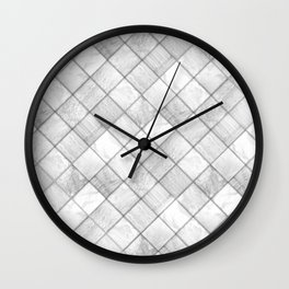 Faux Patchwork Quilting - White & Silver Pattern Wall Clock