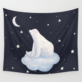 white bear on the cloud Wall Tapestry