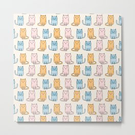 Cute cartoon cats pattern Metal Print