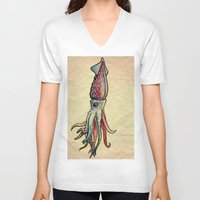 squid V-neck T-shirts featuring Squid by Irene Fratto Due