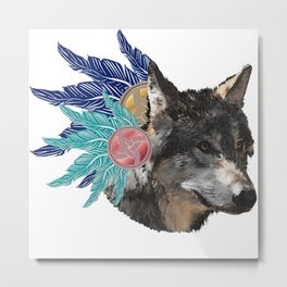 wolf with feather headdress, indians Metal Print
