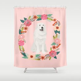great pyrenees dog floral wreath dog gifts pet portraits Shower Curtain