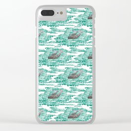 Mama + Baby Gray Whale in Ocean Clouds Clear iPhone Case