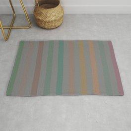 Line pattern 1 - pink , brown , light green , dark green and orange Rug