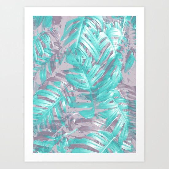 Teal and Silver foliage Art Print