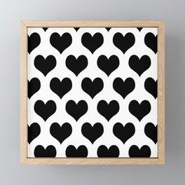 White Black Heart Minimalist Framed Mini Art Print