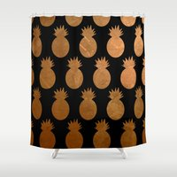 pineapples Shower Curtains featuring Pineapples by The Wellington Boot