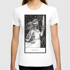 Justice Tarot Womens Fitted Tee White SMALL