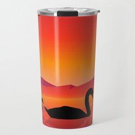 Silhouettes of Swans at Sunset Travel Mug