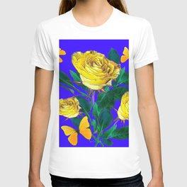 ROSES & YELLOW BUTTERFLIES INDIGO PURPLE VIGNETTE ABSTRACT T-shirt