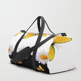 BLACK MODERN ART YELLOW BUTTERFLIES & WHITE DAISIES  ABSTRACT Duffle Bag