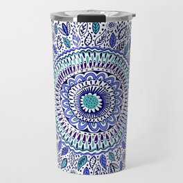 Indigo Flowered Mandala Travel Mug