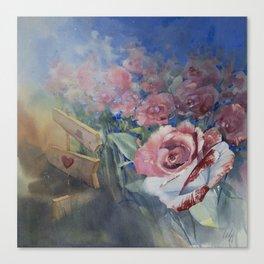 Alice in wonderland. Painted roses Canvas Print