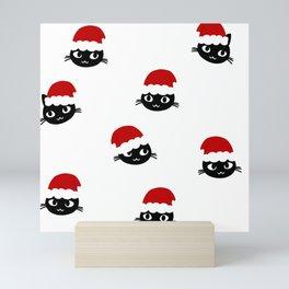 Christmas Cat Black Cat Pattern Mini Art Print