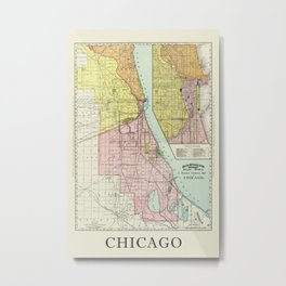 Vintage Map Of The Railroads In Chicago From 1897 Metal Print